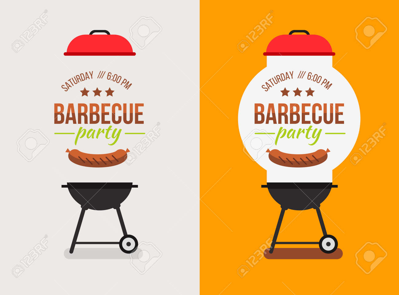 Bbq Or Barbecue Party Invitation. Vector Illustration. Royalty ...