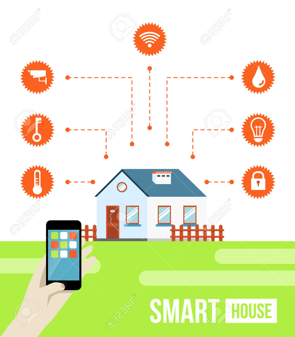 Smart Home Technology Vector Concept Of Smart House Or Smart Home Technology System