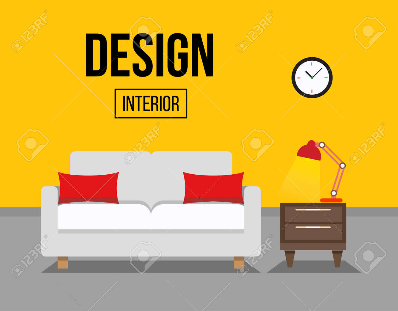 living room with sofa interior design illustration sofa with table and night lamp stock