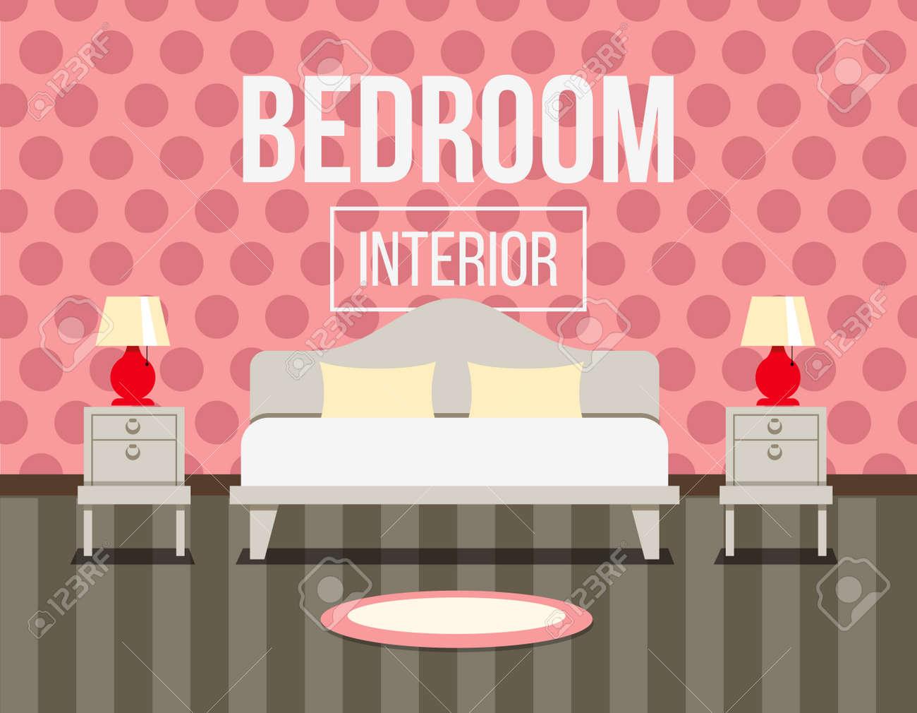Slaapkamer Interieur Ontwerp Illustratie. Bed Met Nachtkastjes En ...