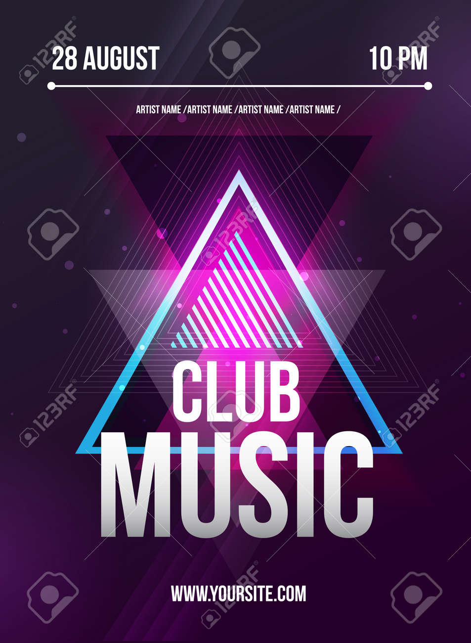 Party Flyer. Club Music Flyer. Dj Lineup Design. Vector Template. Stock  Vector