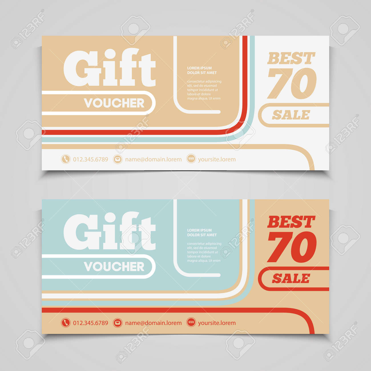 Perfect Two Coupon Voucher Design. Gift Voucher Template With Amount Of Discount  And Contact Information.  Free Voucher Design Template