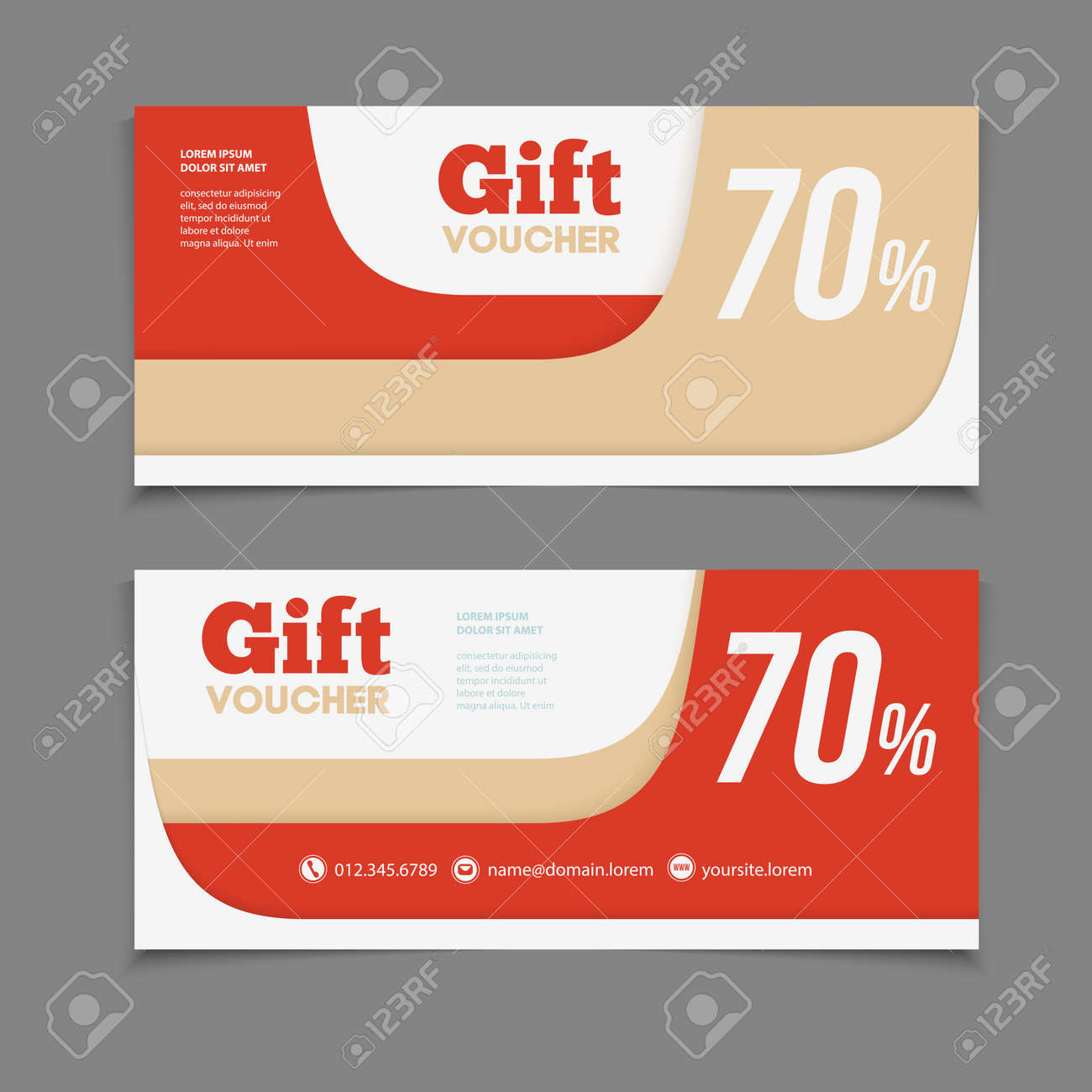 Two Coupon Voucher Design. Gift Voucher Template With Amount Of Discount  And Contact Information.  Coupon Voucher Template