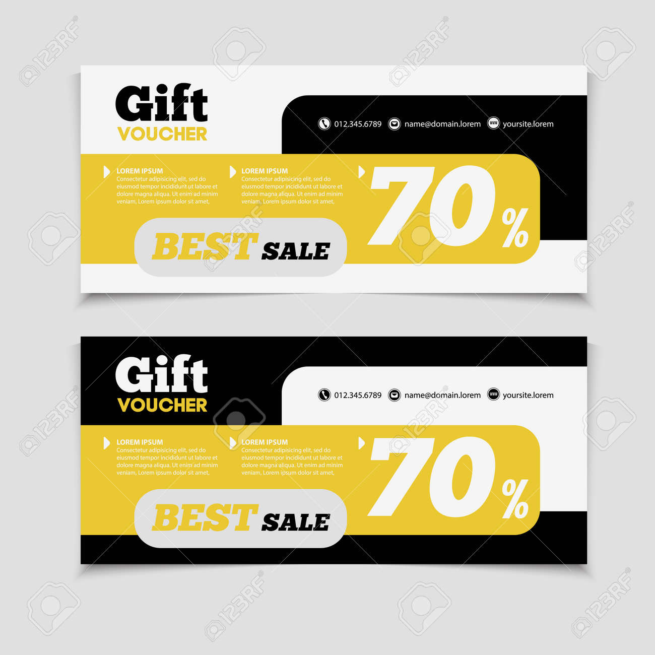 Gift Voucher Template With Amount Of Discount And Contact