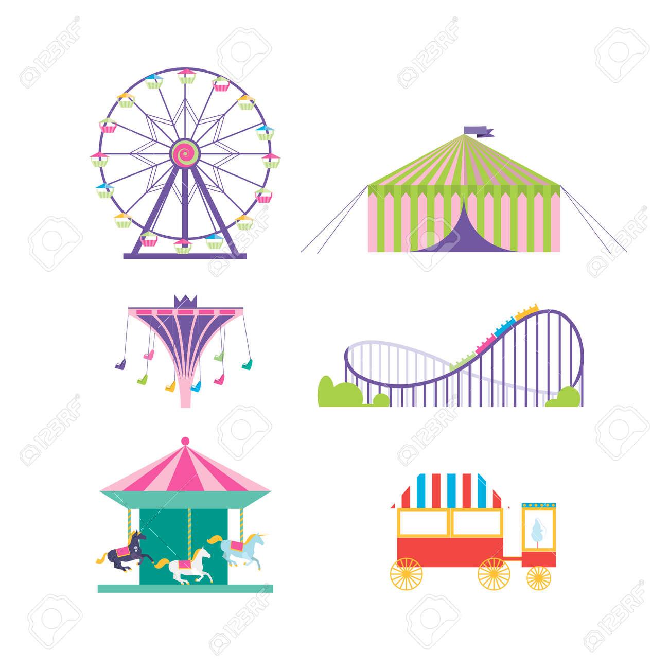 Amusement park vector set. Ferris wheel, roller coaster, popcorn, carousel, carousel with horses - 51380588