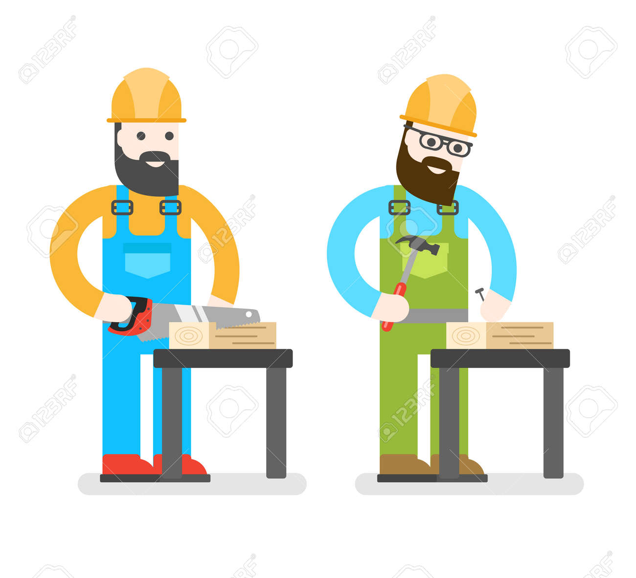 onstruction worker saw man sawing a board woodworcker vector onstruction worker saw man sawing a board woodworcker or joiner good builder in uniform service man