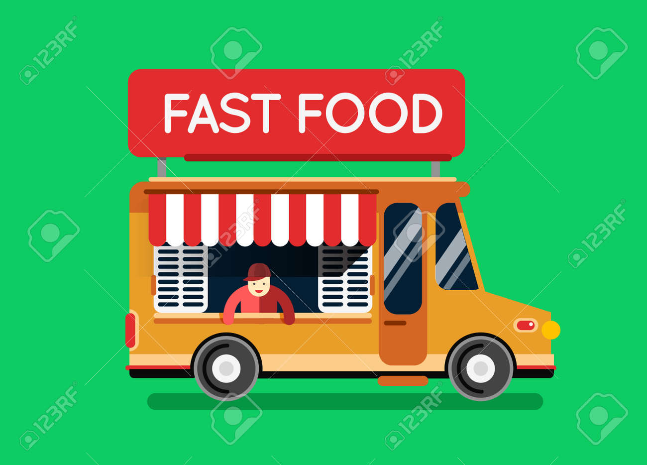 fast food city car food truck auto cafe mobile kitchen