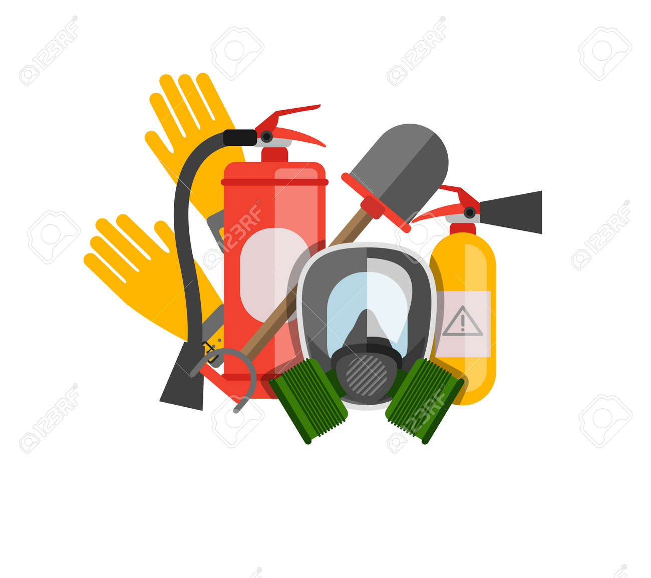 Safety equipment vector set  Fire protection and fire  A gas