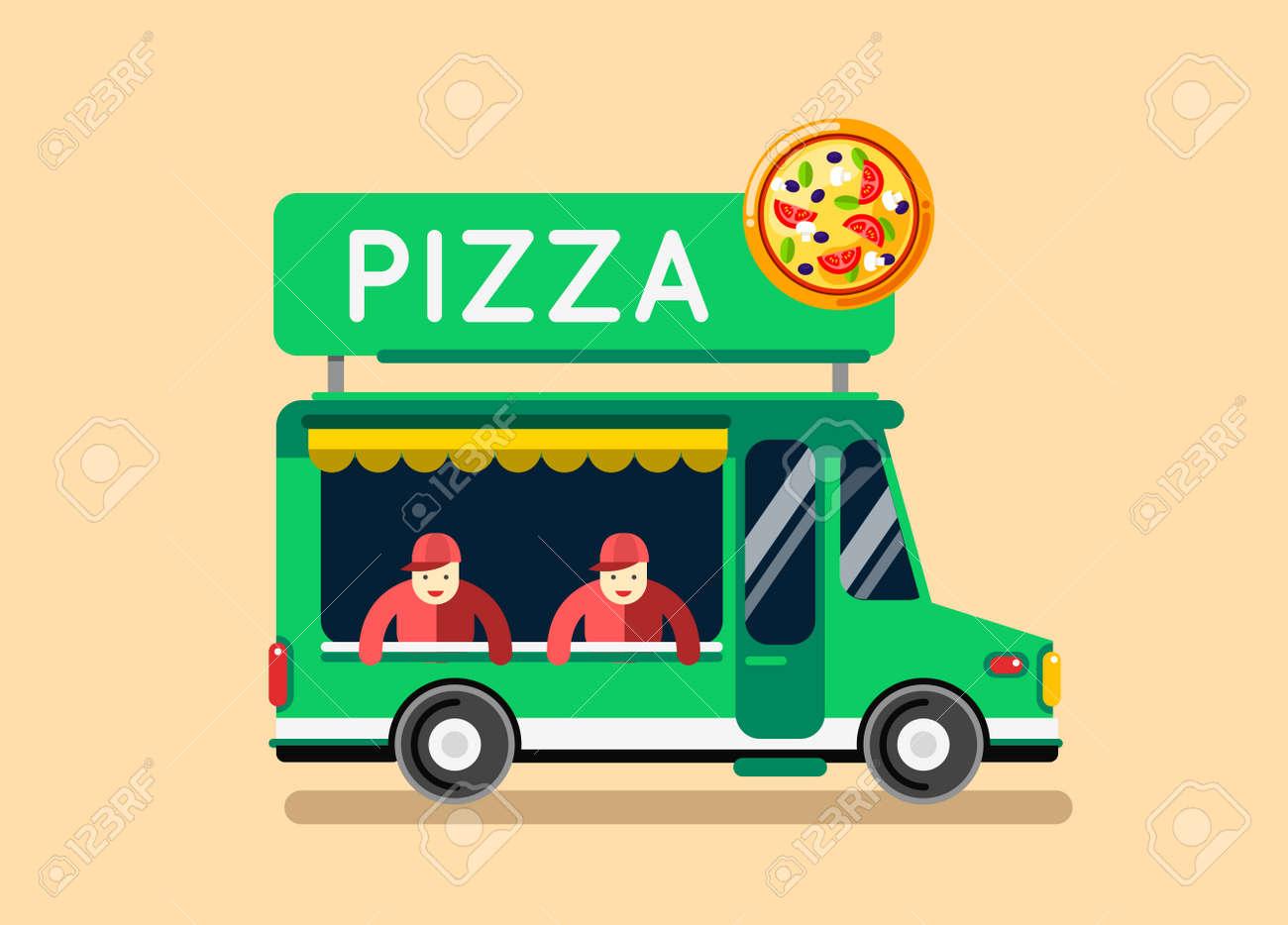 Comida De Pizza Del Coche Del Carro De La Ciudad. Camión De Comida ...