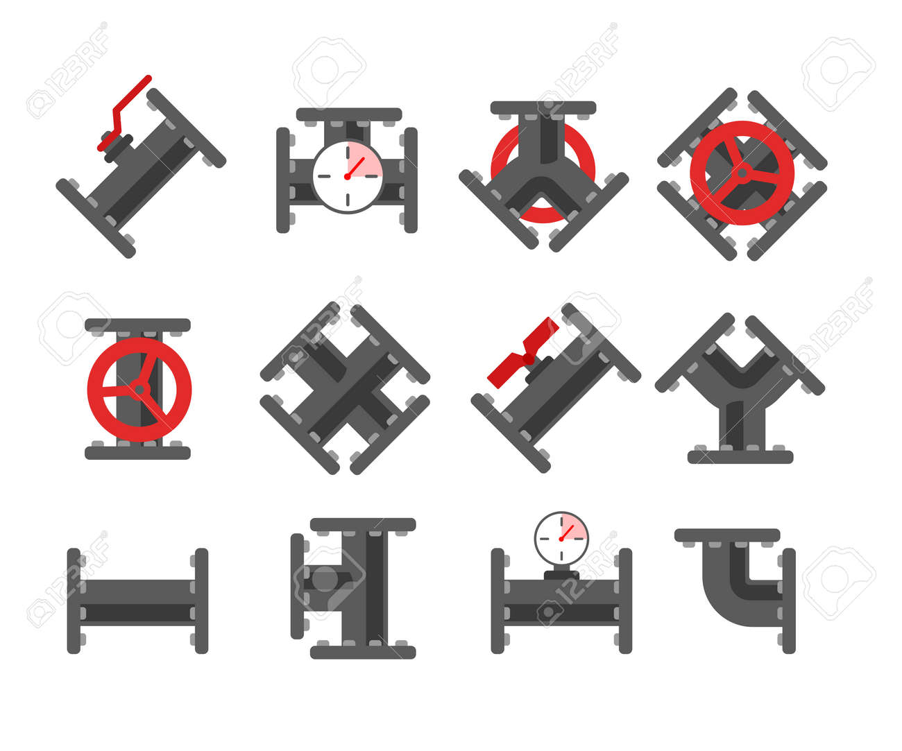 Pipe fitting vector set. Pipeline vector illustration. Pipe fitting for repair home. Gas pipe. Water pipe set. Sewerage vector illustration. Water drain or drainage system - 55514655