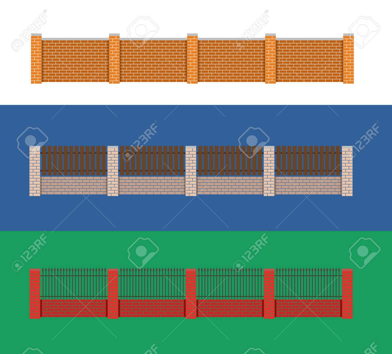 Fence vector illustration brick fence and wood fence fence fence vector illustration brick fence and wood fence fence around the house vector design baanklon Choice Image