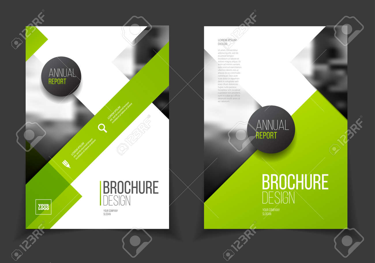 Green Annual report vector illustration. Brochure with text. A4 size corporate business brochure cover. Business presentation with photo and geometric graphic elements. Magazine template - 57822123