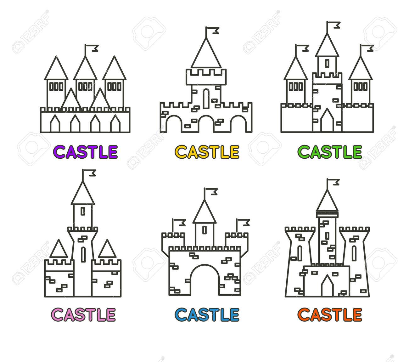 57822143 castle vector set castle tower vector logo castle turret with flag history castle architecture illus castle vector set castle tower vector logo castle turret with