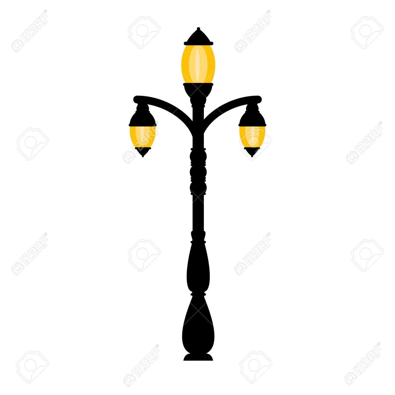 vector vintage streetlight on white background outdoor retro