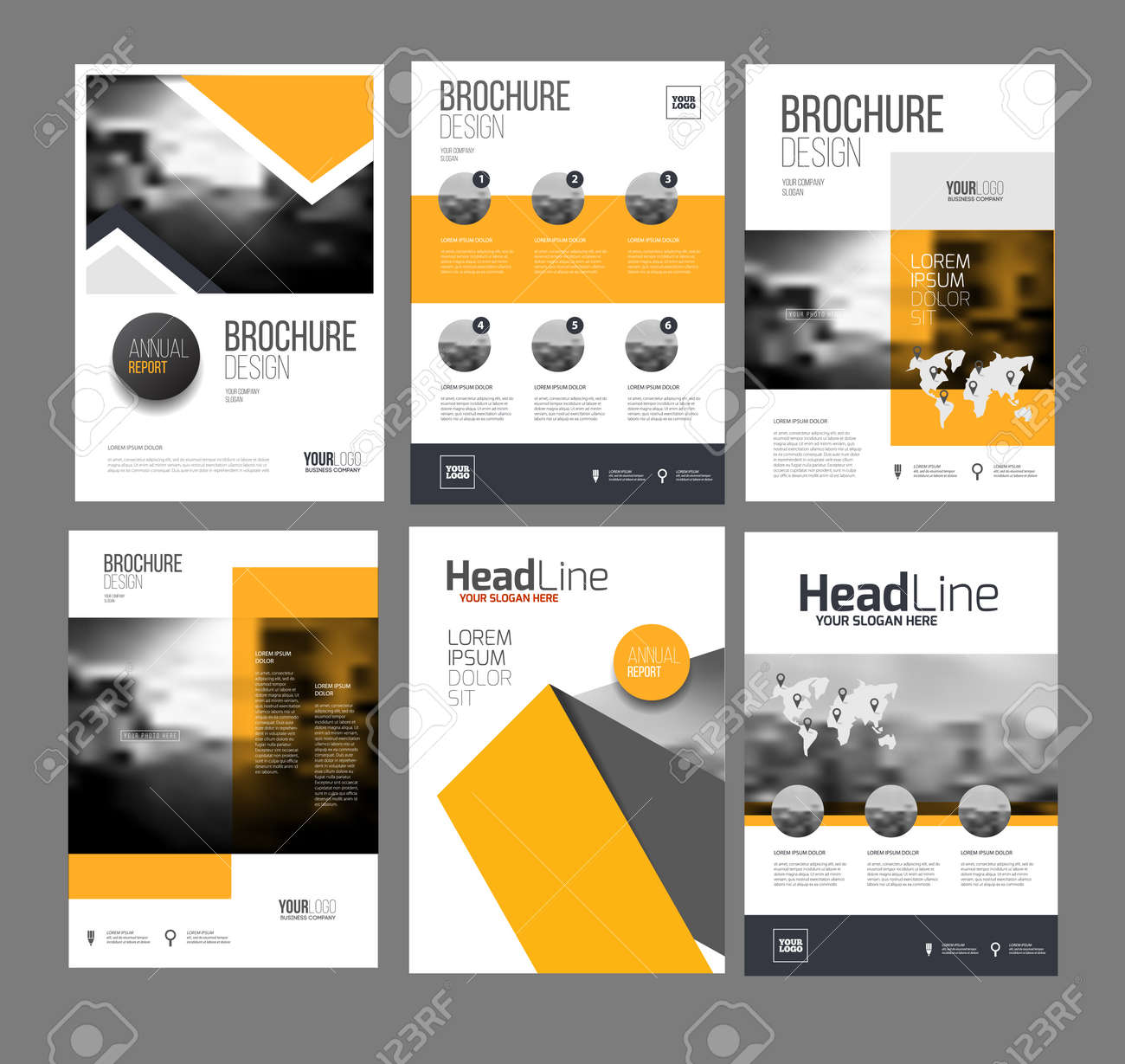 modern brochure design template vector set 6 annual report layout