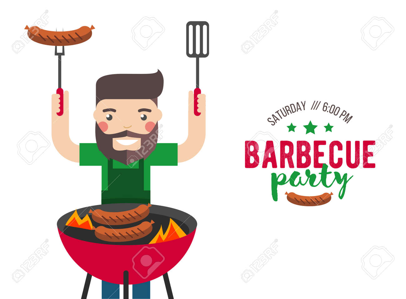 barbecue party cartoon people for flyer or invite card royalty free
