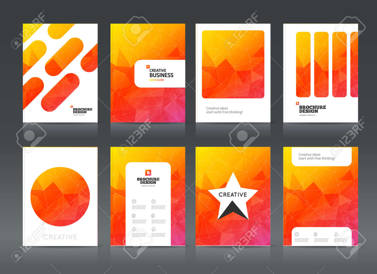 Creative Book Cover Ideas ~ Abstract business brochure design vector template in a4 size