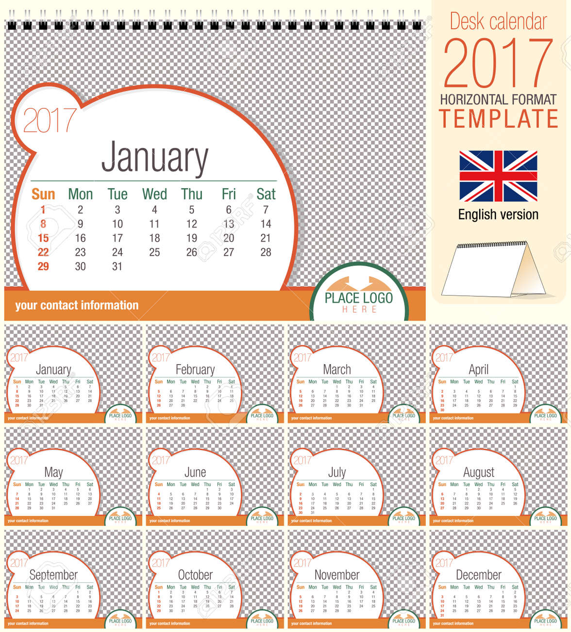 desk triangle calendar 2017 template size 210mm x 150mm format