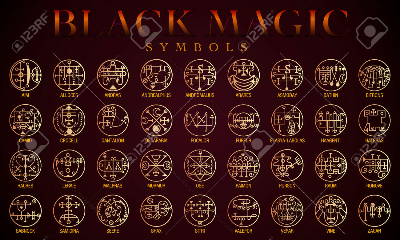 Set Of Black Magic Symbols Black Magic Or Dark Magic Has