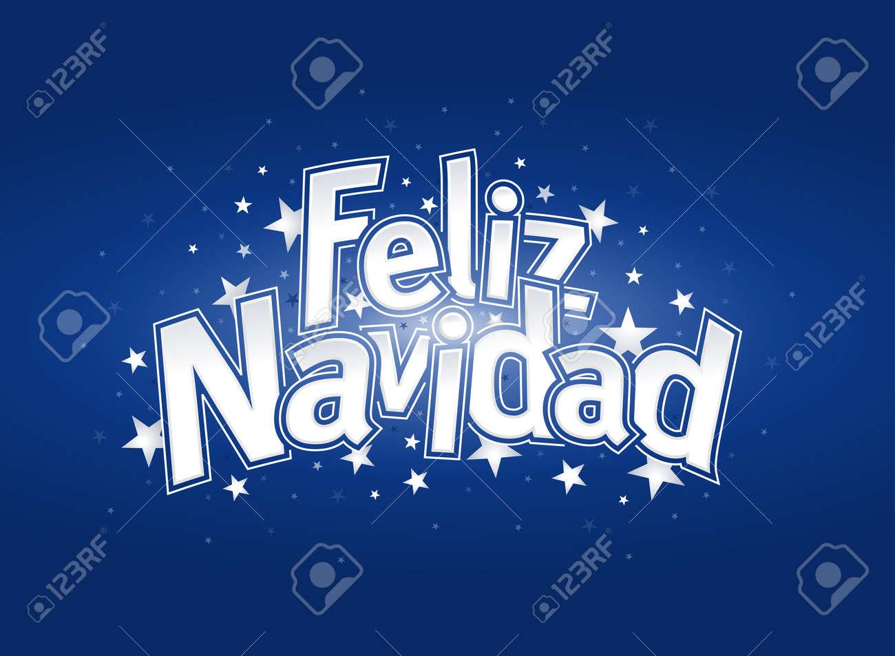 Feliz navidad merry christmas in spanish language blue cover feliz navidad merry christmas in spanish language blue cover of greeting card with stars kristyandbryce Images