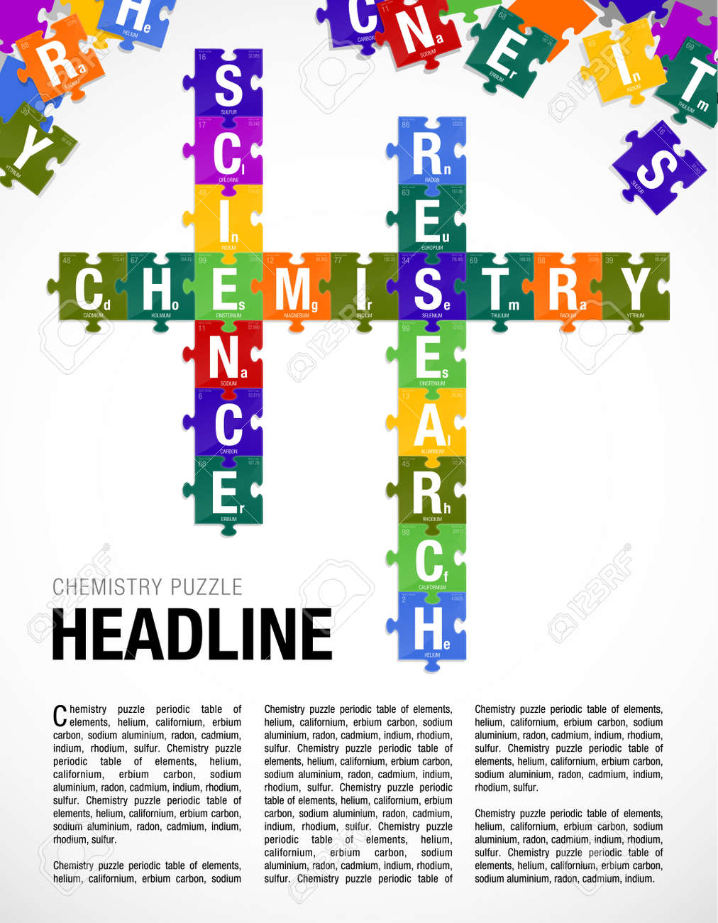 Words chemistry science research formed by symbols of the periodic vector words chemistry science research formed by symbols of the periodic table of the elements in the form of puzzle pieces page layout vector image urtaz Images