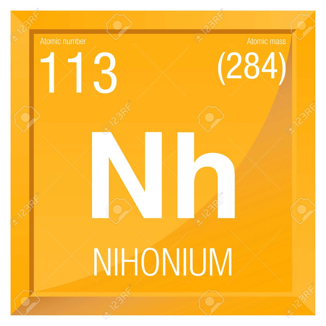 Nihonium smbolo el elemento nmero 113 de la tabla peridica de foto de archivo nihonium smbolo el elemento nmero 113 de la tabla peridica de los elementos qumica marco cuadrado con el fondo amarillo urtaz Gallery