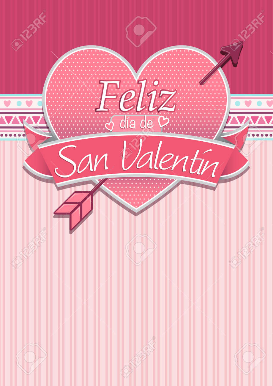 Card Cover With Message: Feliz Dia De San Valentin  Happy Valentines Day In  Spanish