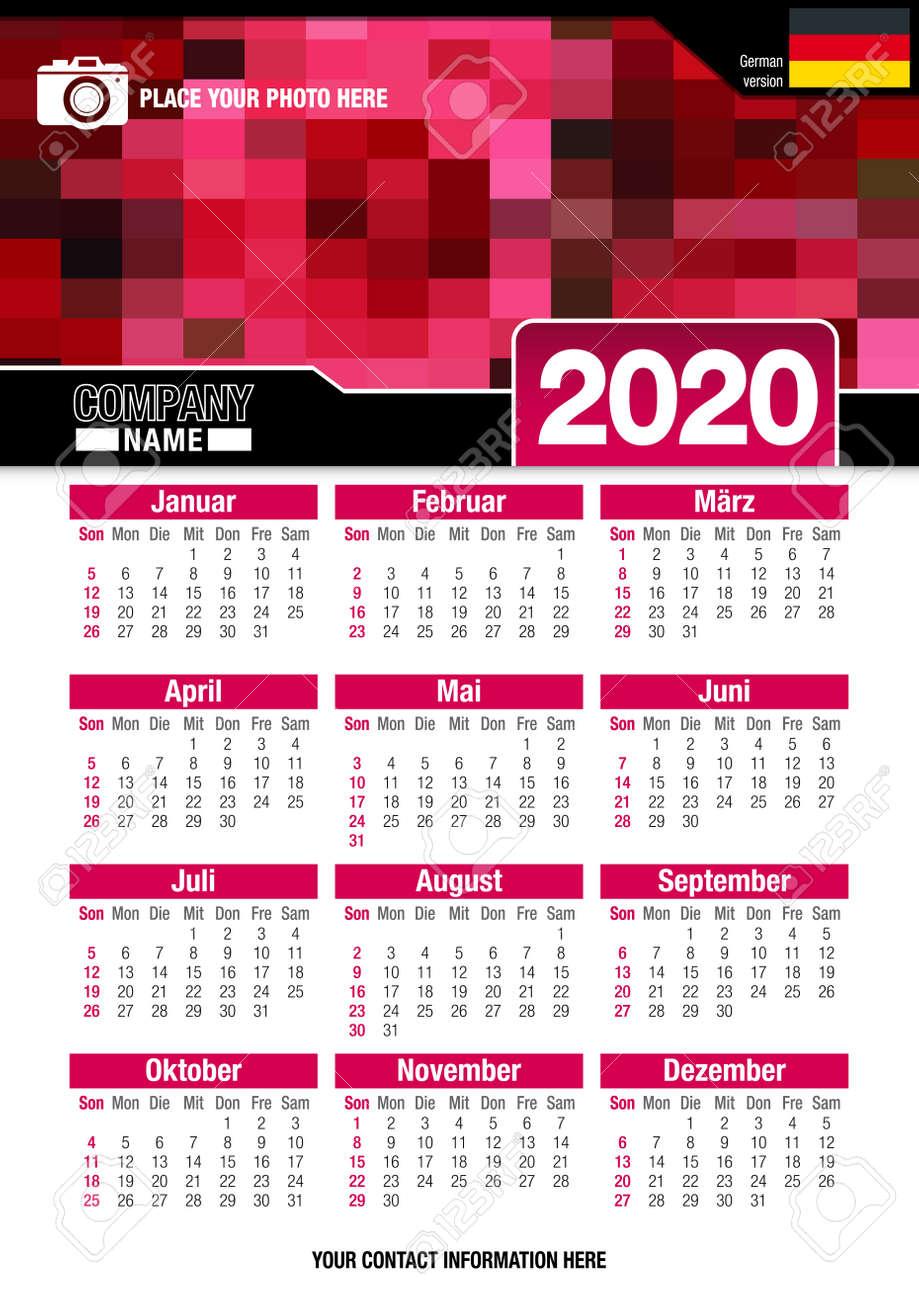 Calendrier Allemand 2020.Calendrier Mural Utile 2020 Avec Design De Mosaique De Couleurs Rouges Format A4 Vertical Taille 210mm X 297mm Version Allemande