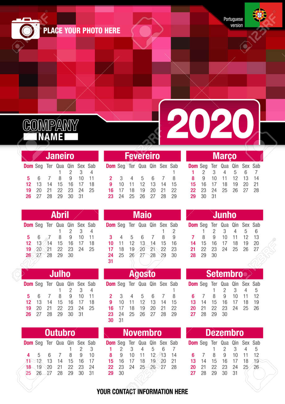 Calendario 2020 A4.Useful Wall Calendar 2020 With Design Of Red Colors Mosaic Vertical