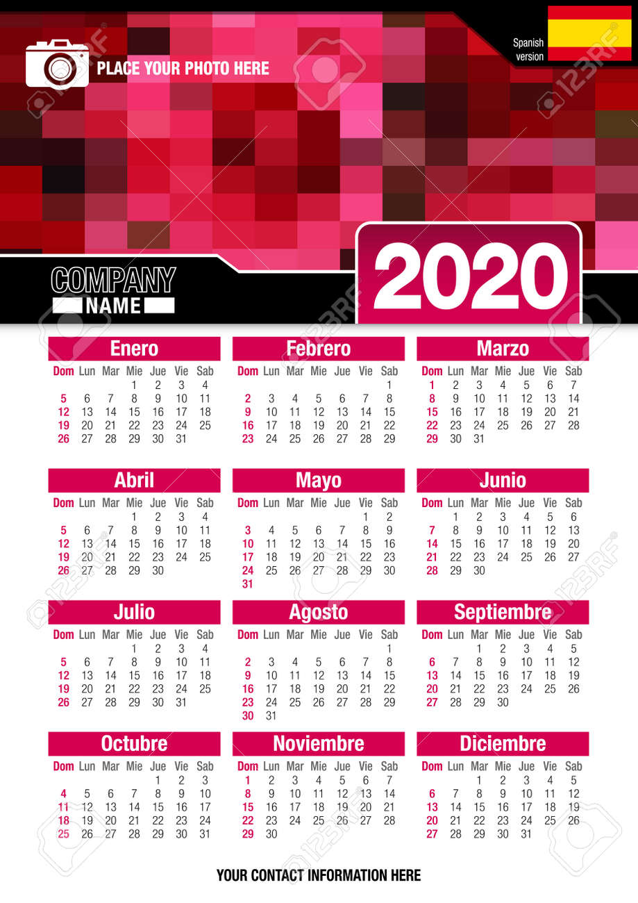 Calendar February 2020 Verticale Useful Wall Calendar 2020 With Design Of Red Colors Mosaic