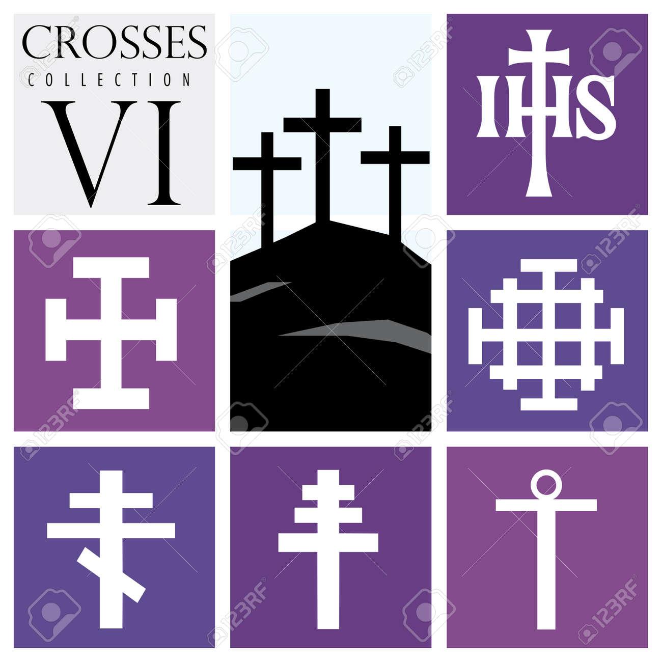 Tipos De Cruces conjunto de diferentes tipos de cruces sobre fondo púrpura - vector