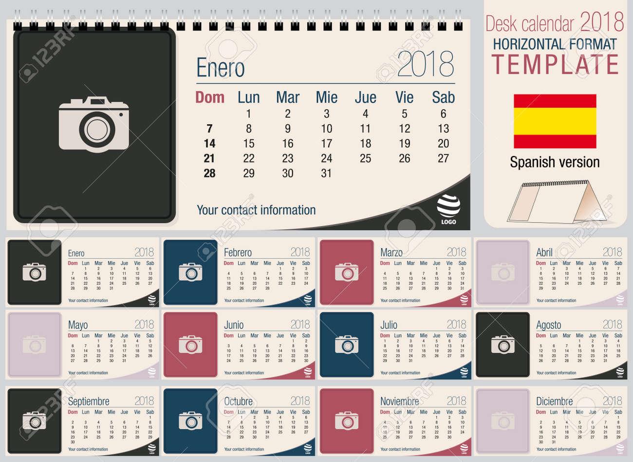 280260a35 Calendario de escritorio útil 2018 - Planificador. Formato horizontal -  Imagen vectorial - Versión en