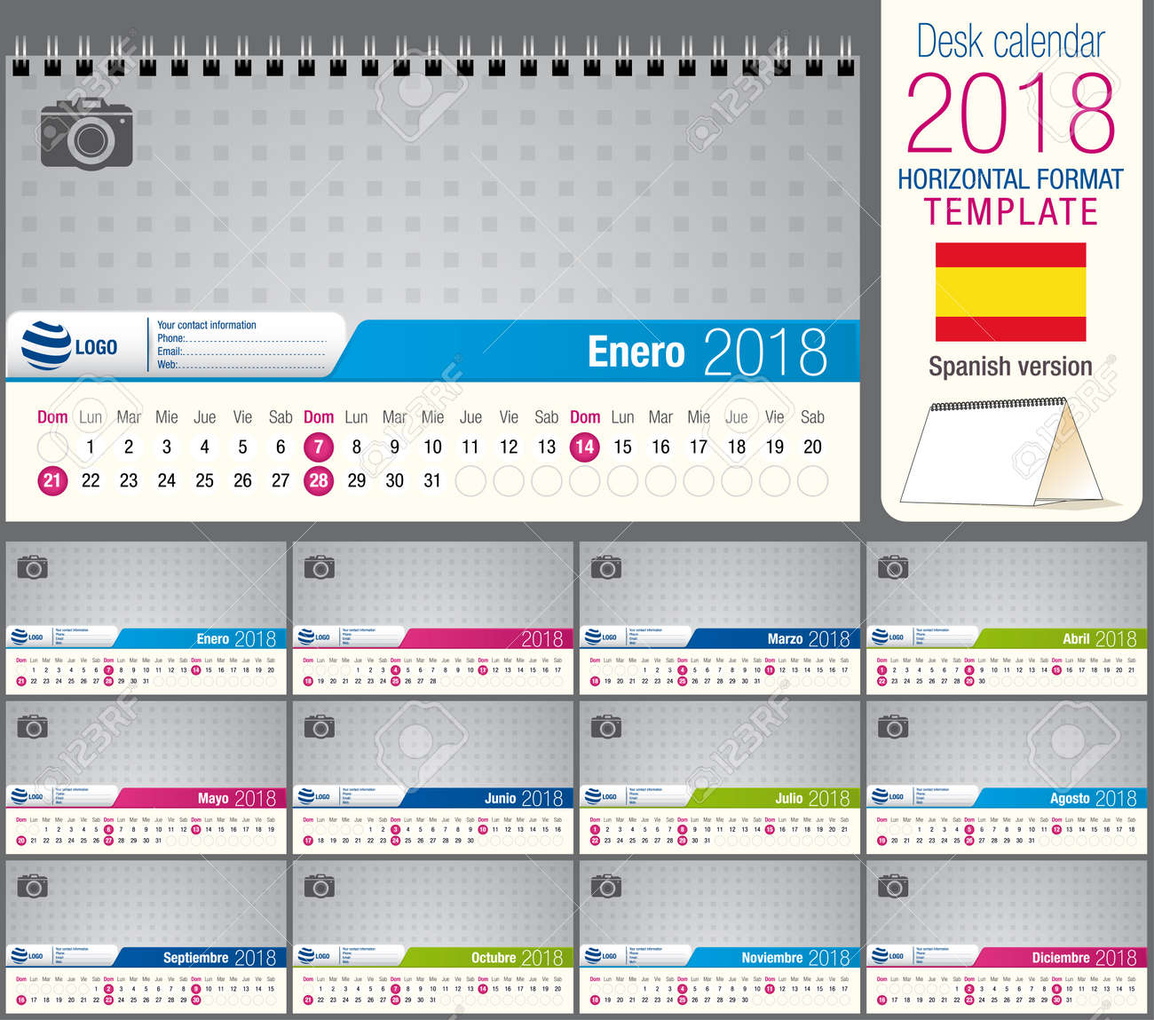 Useful Desk Triangle Calendar 2018 Template, Ready For Printing ...