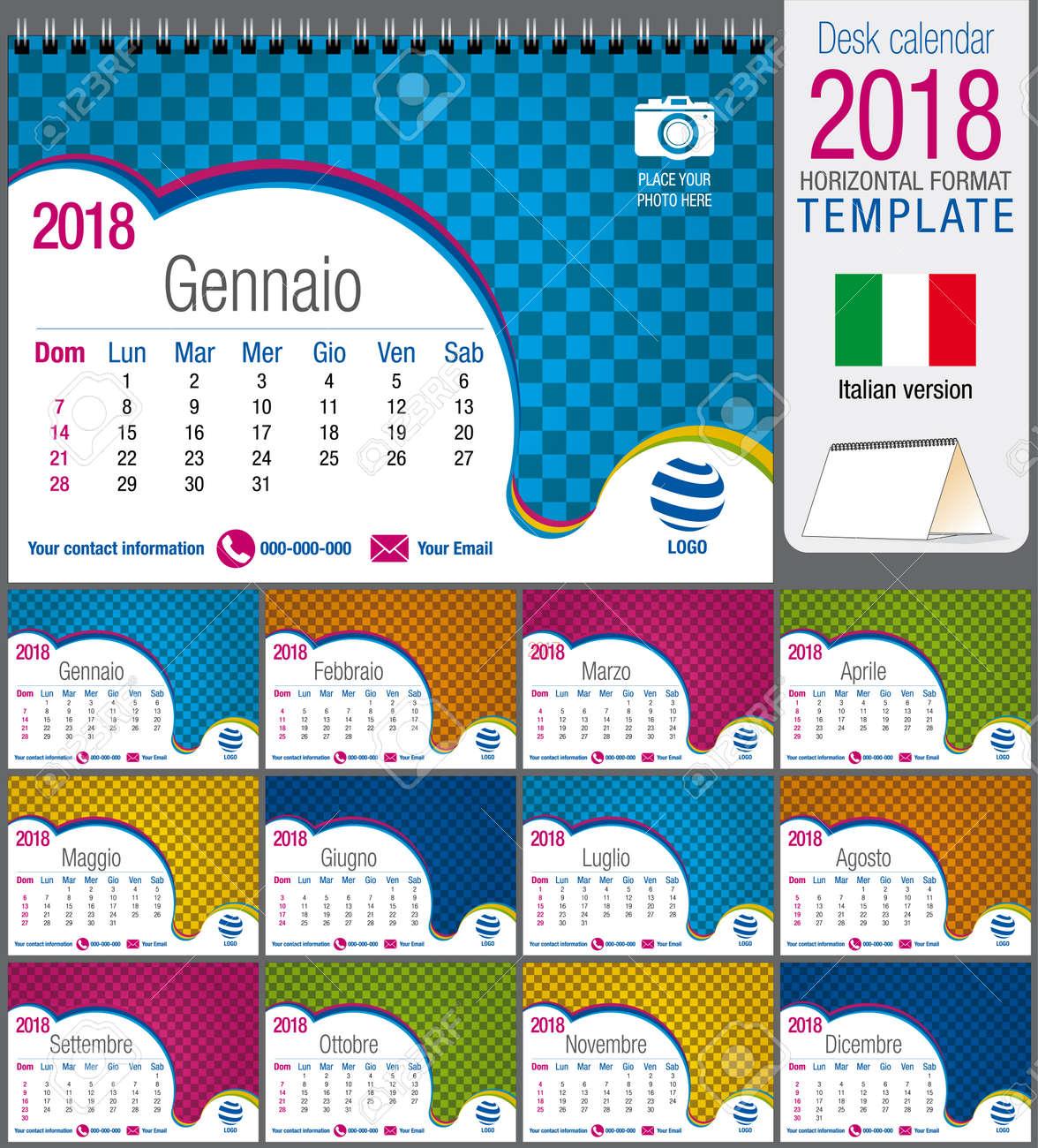 Escritorio Triángulo Calendario 2018 Plantilla De Colores. Tamaño ...