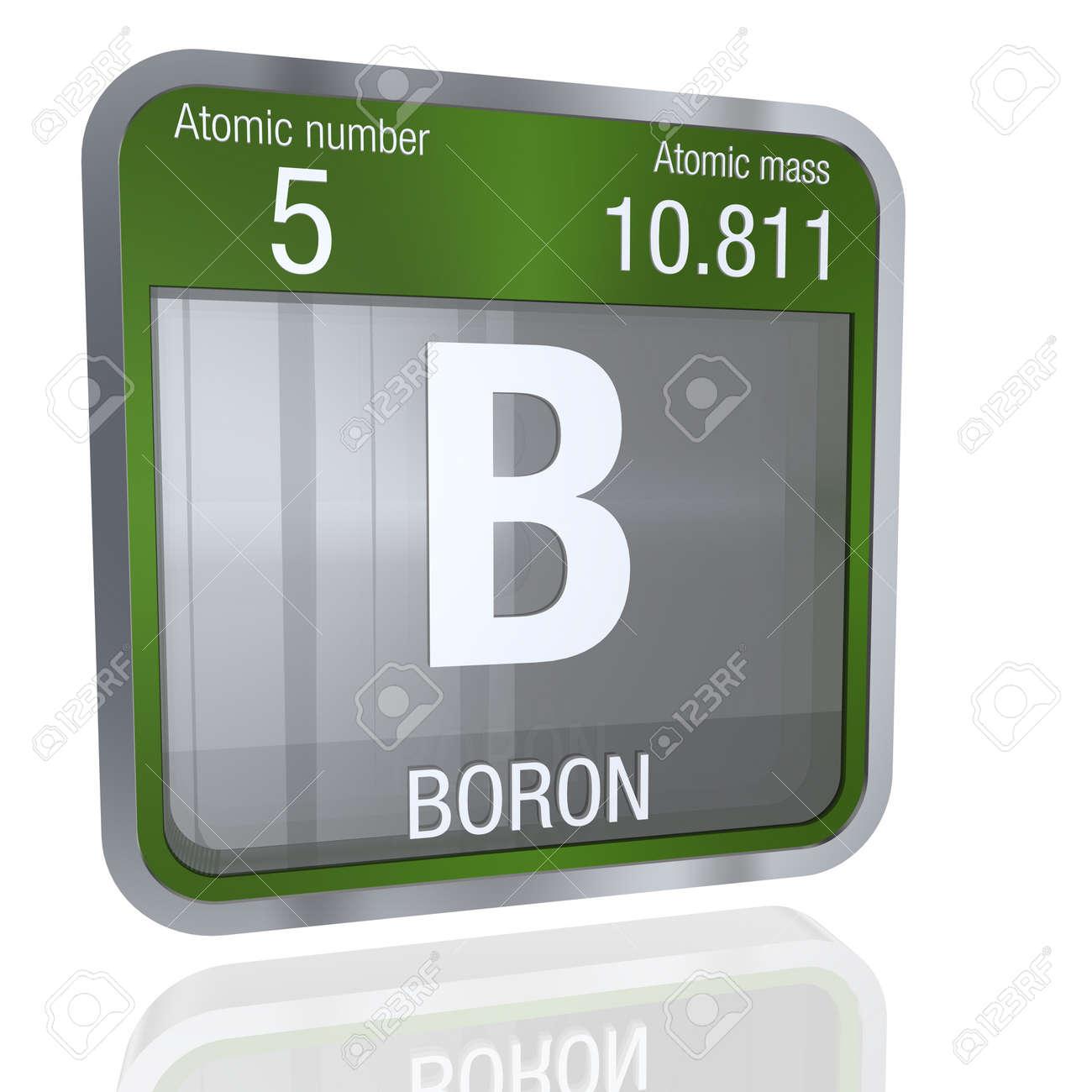 Boron Symbol In Square Shape With Metallic Border And Transparent
