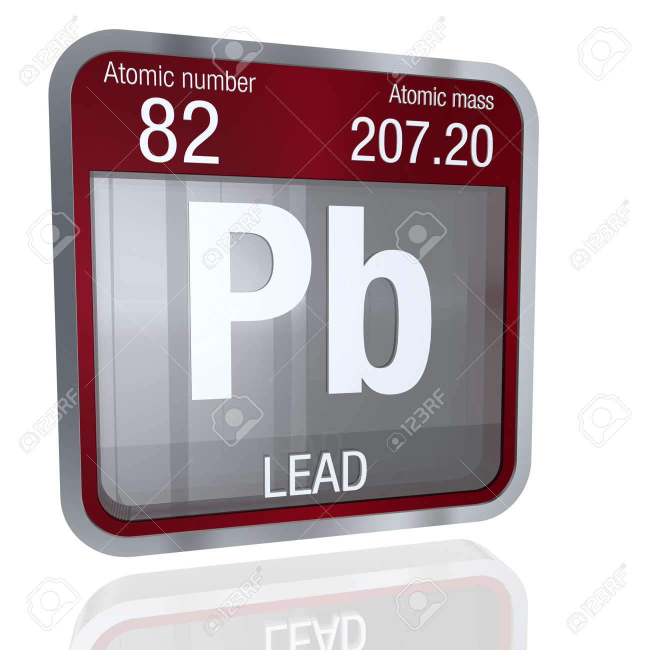 Lead symbol in square shape with metallic border and transparent lead symbol in square shape with metallic border and transparent background with reflection on the floor urtaz