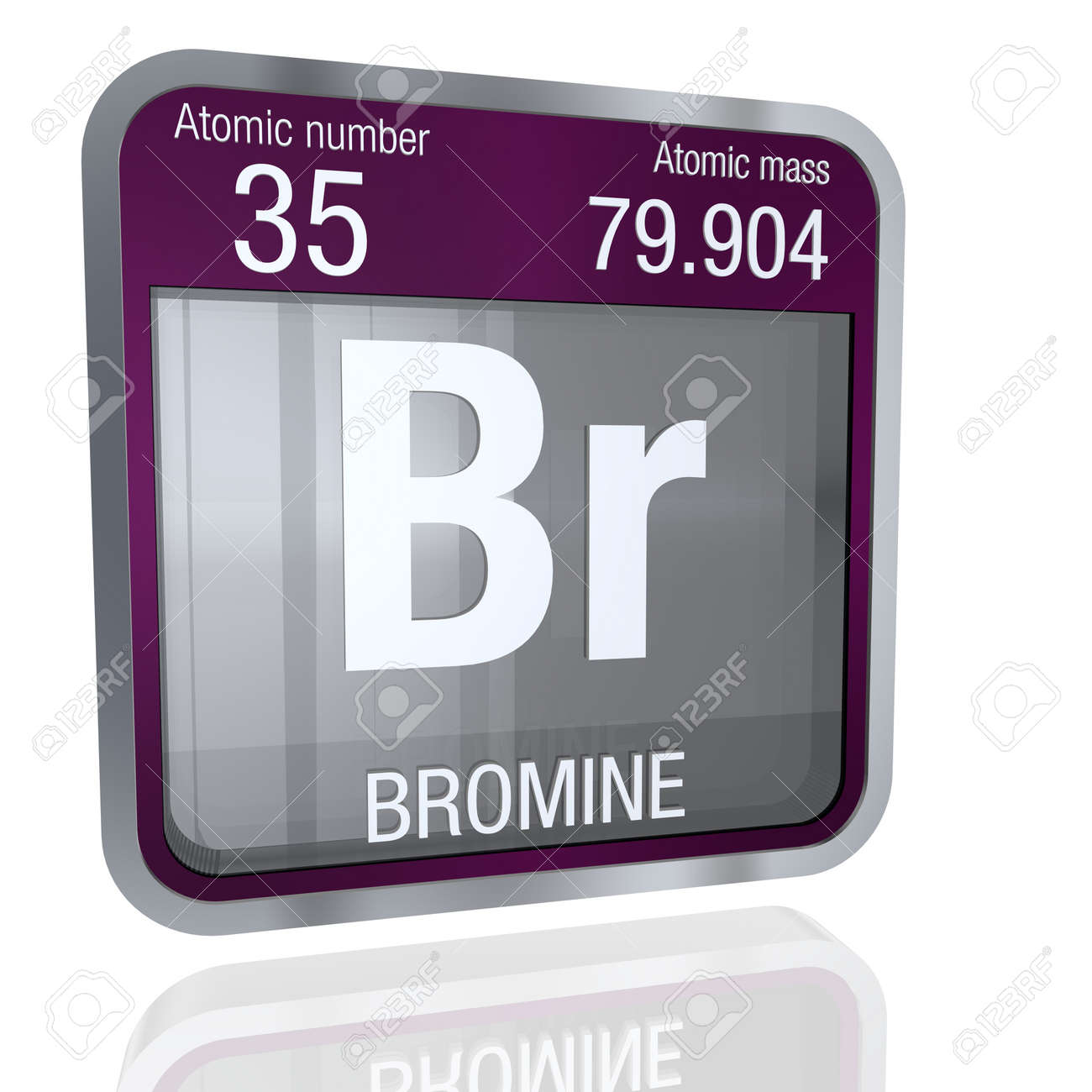 Bromine symbol in square shape with metallic border and transparent bromine symbol in square shape with metallic border and transparent background with reflection on the floor buycottarizona Choice Image