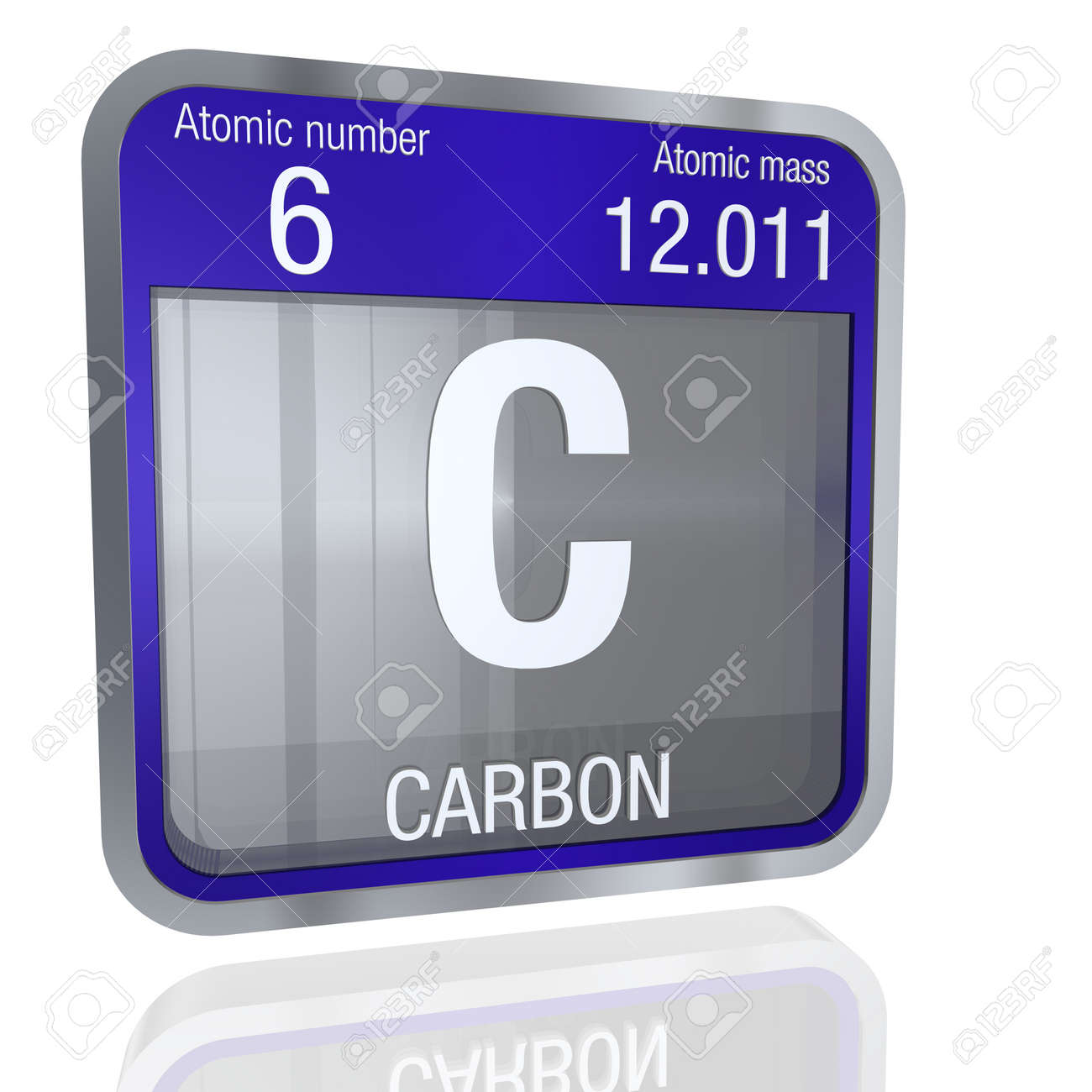 Carbon symbol in square shape with metallic border and transparent carbon symbol in square shape with metallic border and transparent background with reflection on the floor buycottarizona