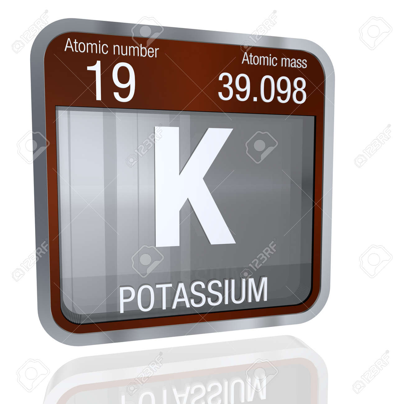 Potassium symbol in square shape with metallic border and potassium symbol in square shape with metallic border and transparent background with reflection on the floor urtaz Image collections