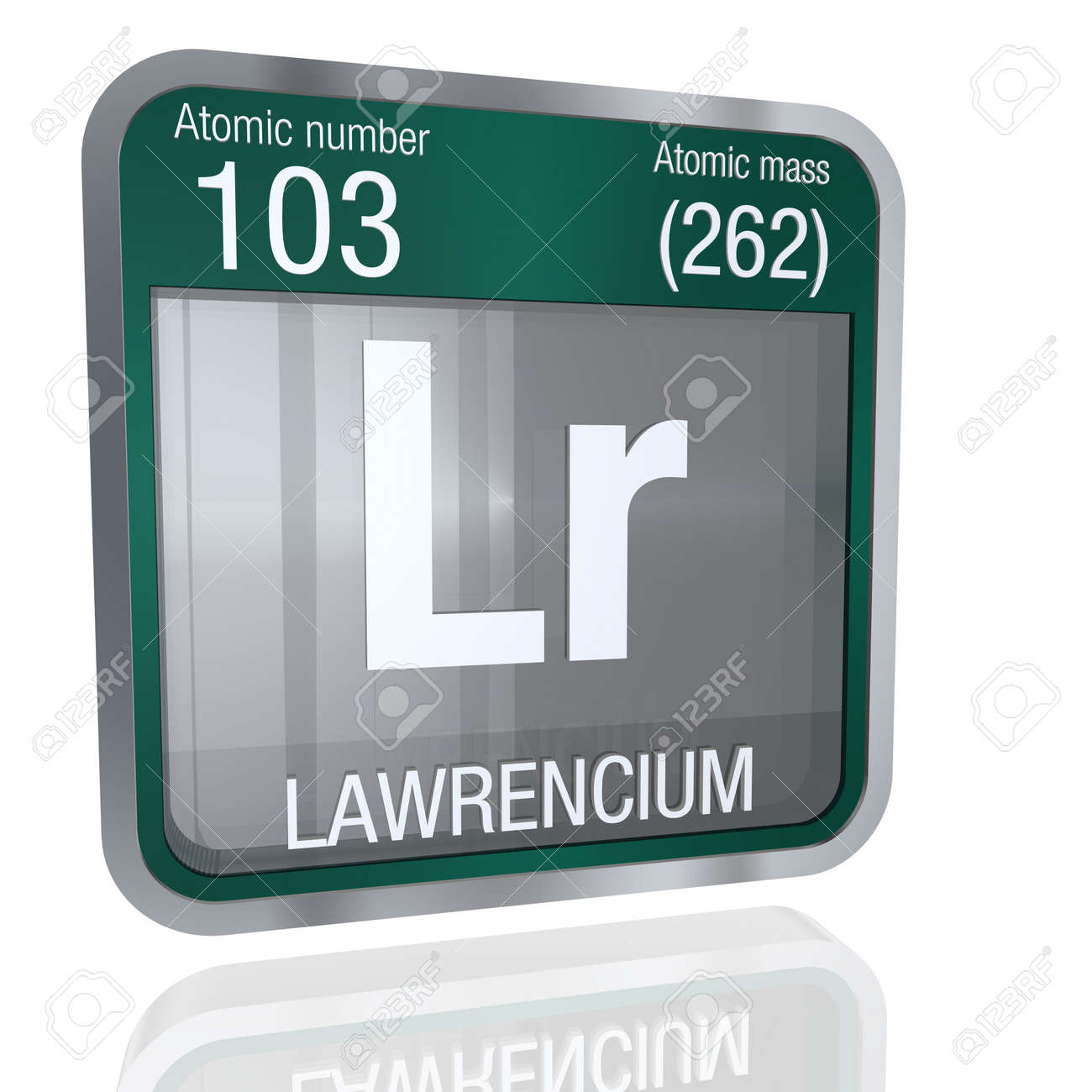 Lawrencium symbol in square shape with metallic border and lawrencium symbol in square shape with metallic border and transparent background with reflection on the floor urtaz Choice Image