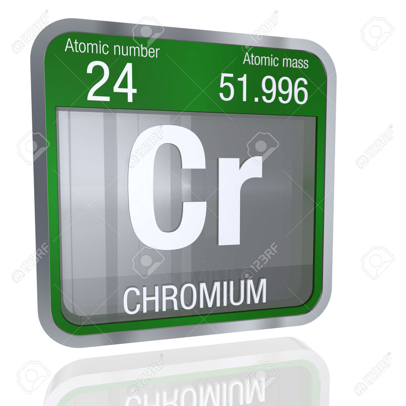 Chromium symbol in square shape with metallic border and chromium symbol in square shape with metallic border and transparent background with reflection on the floor buycottarizona