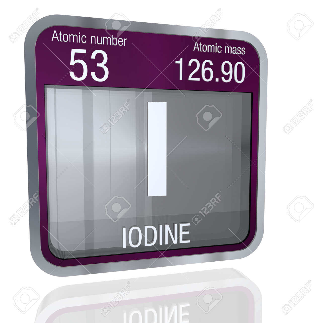 Iodine symbol in square shape with metallic border and transparent iodine symbol in square shape with metallic border and transparent background with reflection on the floor urtaz Images