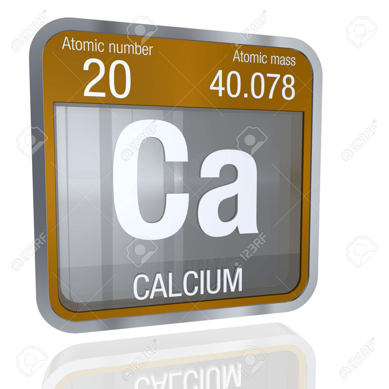 Calcium symbol in square shape with metallic border and calcium symbol in square shape with metallic border and transparent background with reflection on the floor buycottarizona Choice Image