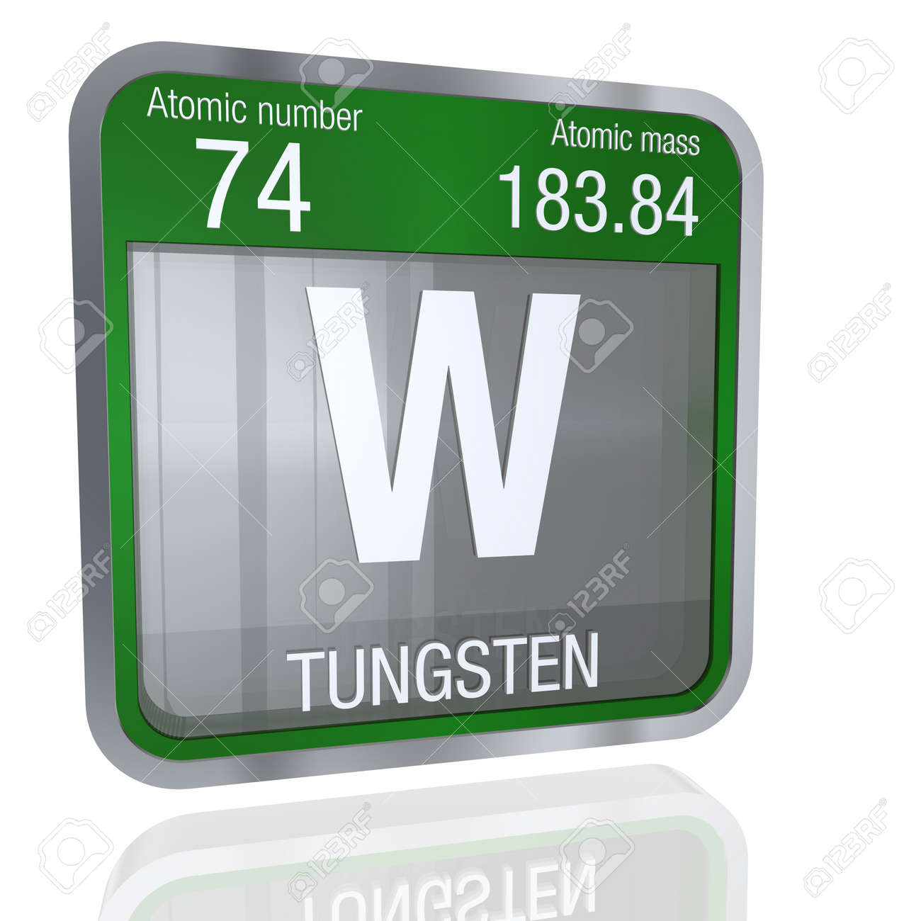 Tungsten symbol in square shape with metallic border and transparent tungsten symbol in square shape with metallic border and transparent background with reflection on the floor urtaz Gallery