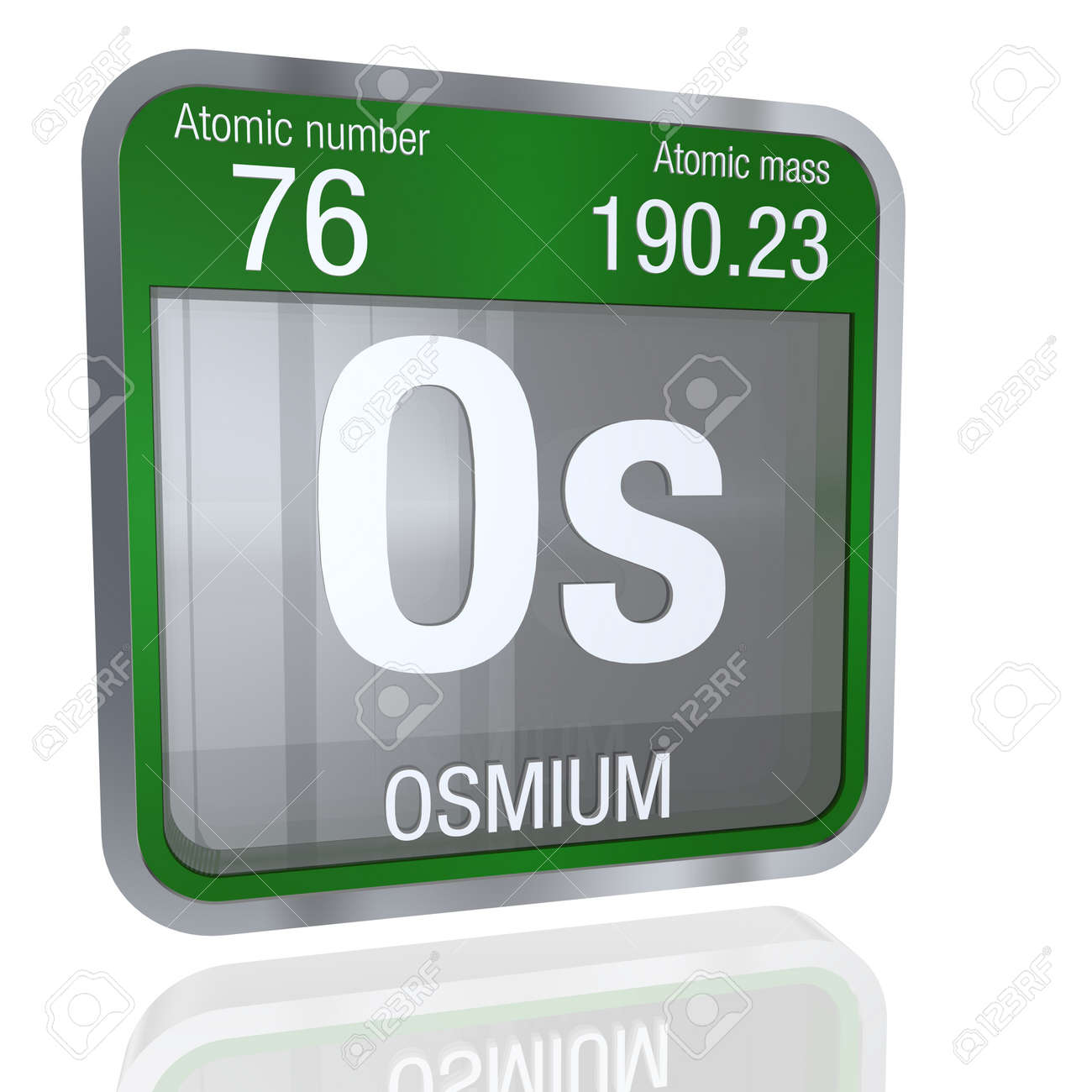 Osmium symbol in square shape with metallic border and transparent osmium symbol in square shape with metallic border and transparent background with reflection on the floor urtaz Gallery