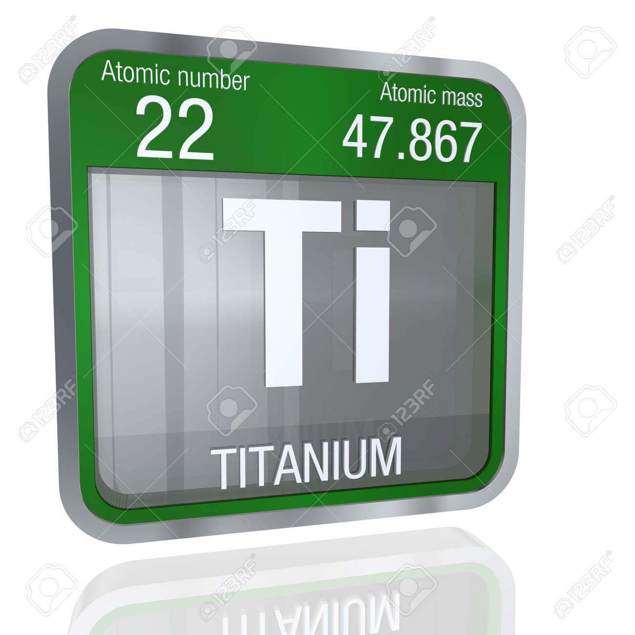 3d render element number 22 of the periodic table of the elements chemistry