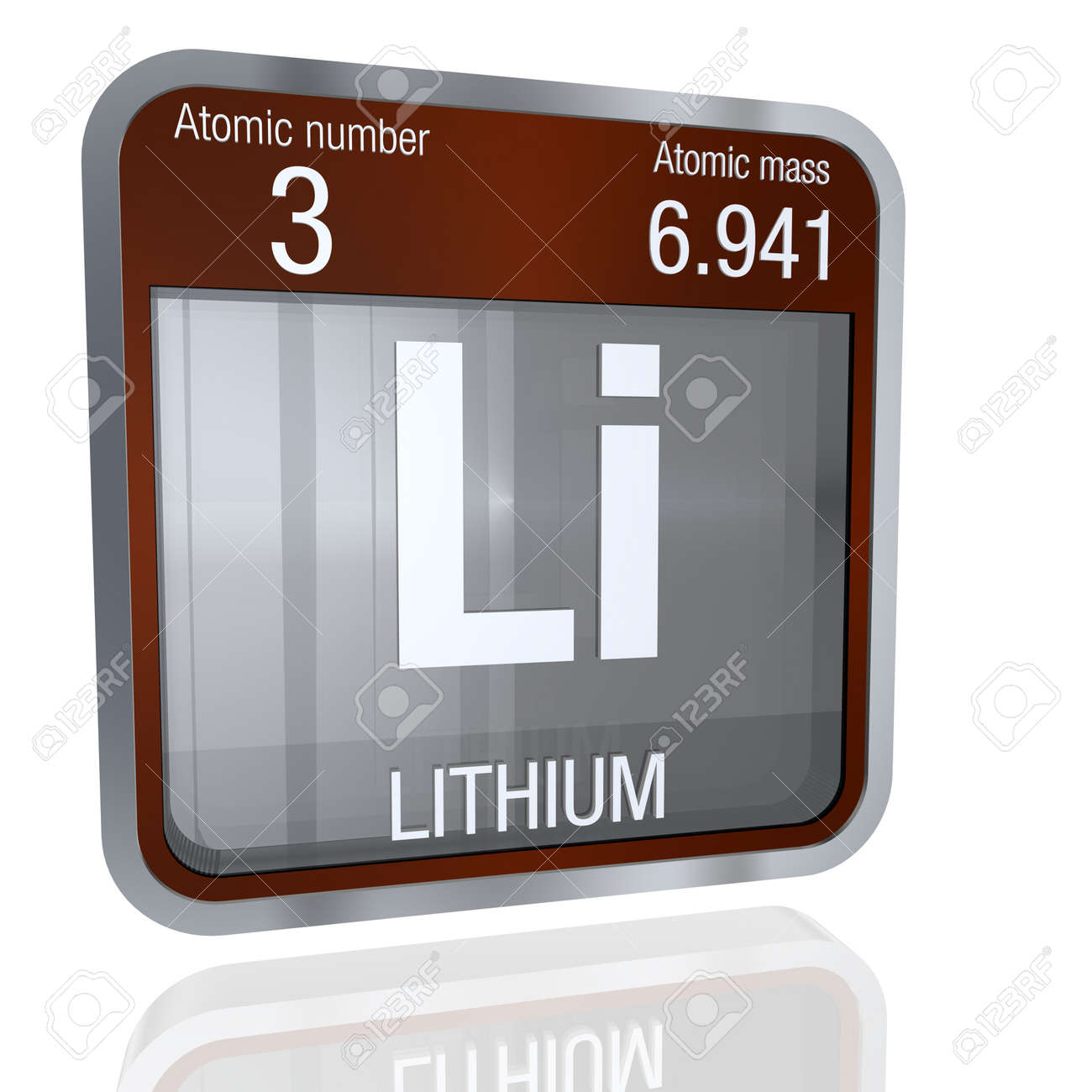 Lithium symbol in square shape with metallic border and transparent lithium symbol in square shape with metallic border and transparent background with reflection on the floor urtaz Gallery