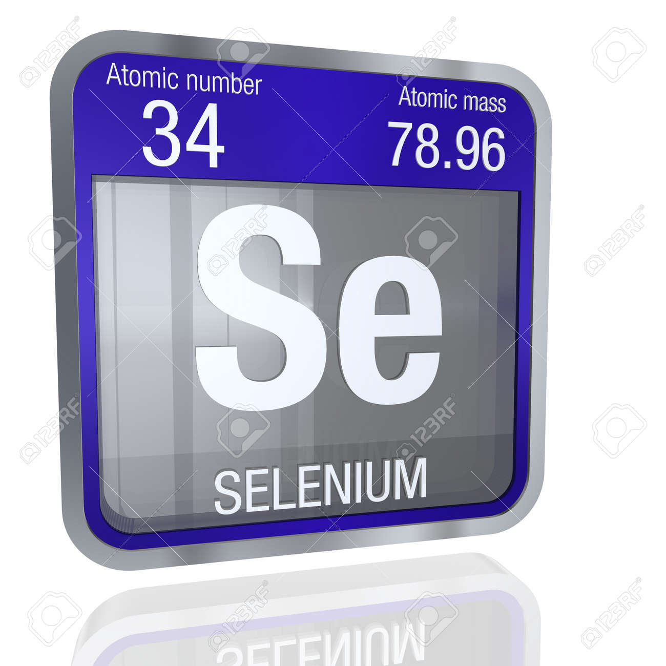 Selenium symbol in square shape with metallic border and transparent selenium symbol in square shape with metallic border and transparent background with reflection on the floor urtaz Images