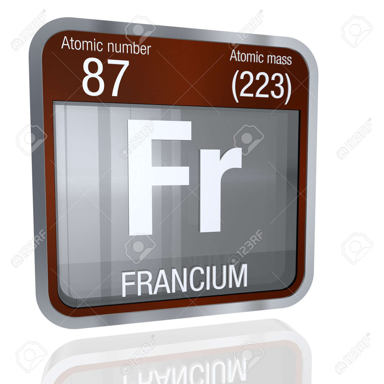 Francium Symbol In Square Shape With Metallic Border And Transparent