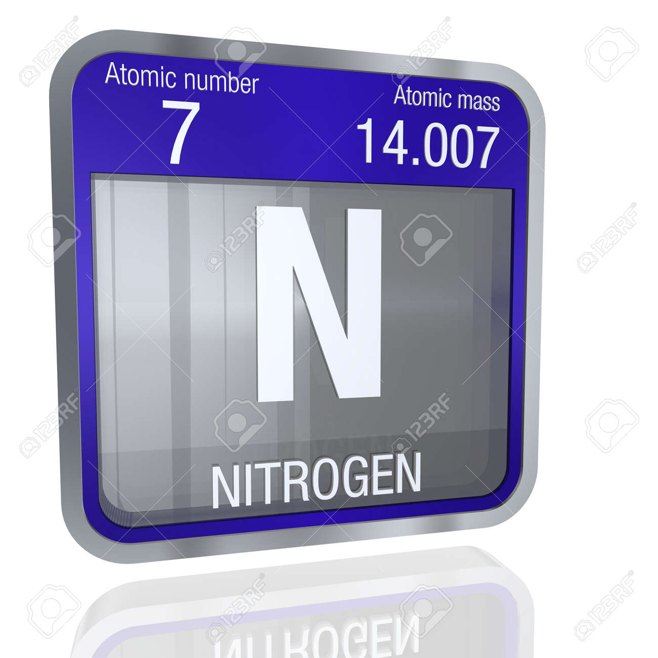 Nitrogen symbol in square shape with metallic border and transparent nitrogen symbol in square shape with metallic border and transparent background with reflection on the floor urtaz Choice Image